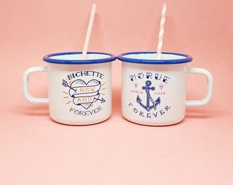 """Set de 2 tasses émaillées """"Morue Forever et Bichette Forever"""""""