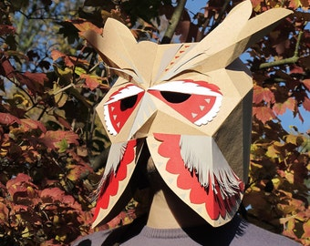 Owl mask, paper mask. Halloween costume with papercraft bird mask.