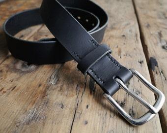 Black Leather Belt - Mens Leather Belt - Bridle Leather Belt - Bespoke Belt - Handmade in England