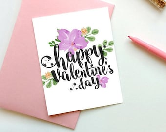 Floral Valentines Card, Happy Valentines Day Card, Valentines Card Printable, Love Card for him, Valentines Day Card, Instant download, Card
