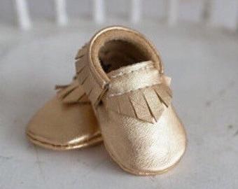 Gold Metallic Mocs // Moccasins // baby moccs // moccs // newborn // baby shoes