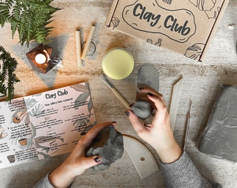 Home Pottery Kit For 1-2 People - DIY Craft At Home - Clay Club - Air Drying Clay