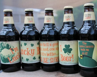 St Patrick's Day Beer Labels / Grungy Printable Design