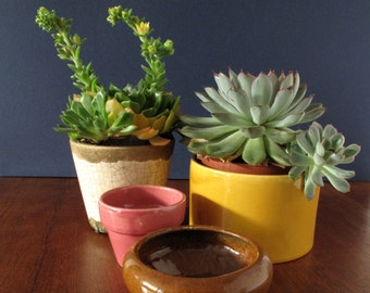 Set of 4 vintage ceramic planters, flower pots, outer pots, pink brown yellow white succulent pots, home decor, retro planters