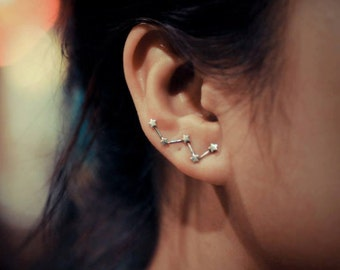 Cassiopeia Constellation Sterling Silver Ear Climbers