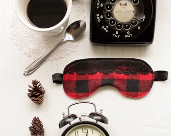 Red and Black Flannel 'Cabin Fever' Buffalo Plaid with Lace Sleepmask Eyemask Blindfold Handmade to Order
