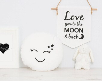White Full moon baby cushion, space kids room, nursery cushion with cute embroidered face