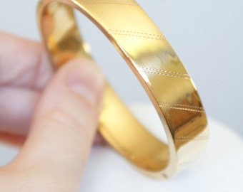 VINTAGE wow 12k GOLD Filled Plain Bangle Bracelet for Personalized name or Message 1950s Jewellery Jewelry Gifts for Her
