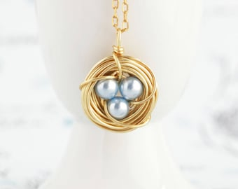 Moms Necklace - Pearl Bird Nest Necklace - Rustic Jewelry - Push Present For Expectant Mom - New baby Gift - Gift From Son