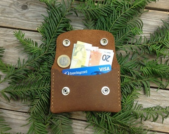 Manmade - personalisierte Geldbörse Kartenetui - handmade Lederwallet