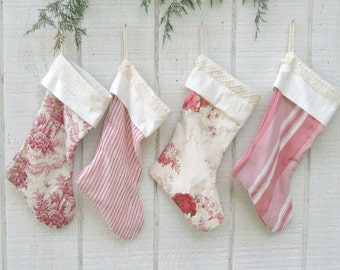 English Cottage Farmhouse Rosettes Christmas Stockings, Choice of 1, Heirloom, Custom Order,  Waverley Norfolk Rose Lined, For the Home