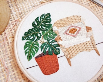 Monstera and Wicker Chair | Modern Embroidery, Embroidery Kit Modern, Embroidery Plants, Embroidery Kit Hoop, Embroidery Kit,