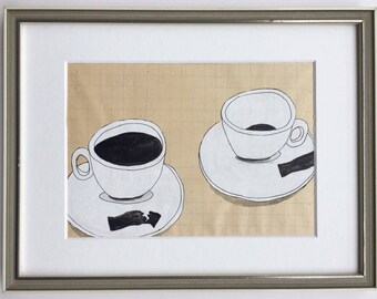 """original drawing: """"Two cups of coffee"""", framed"""