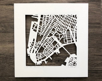 New York City Neighborhood Hand Cut Map Original Artwork