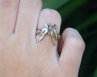 Handmade o.o.a.k  Love Birds Solid gold Bronze sculpted ring Metal work Valentine