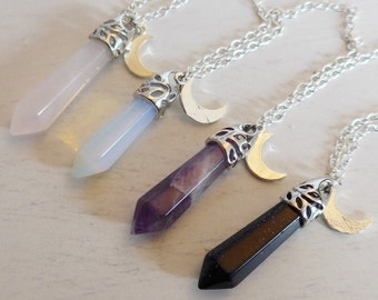 Birthstone necklace with moon pendant, rose quartz necklace, layering amethyst necklace, celestial jewelry, witchy gemstone necklace
