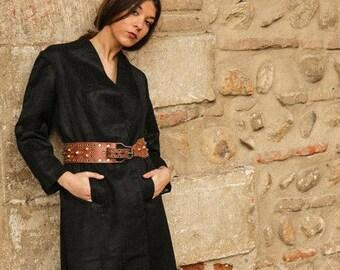 antique coat // 1920s  brocade black coat // silky brocade  Flapper Coat // swing coat // 1920s silk kimono