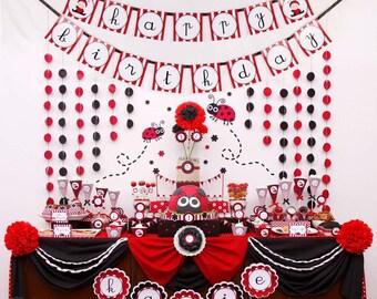 Ensemble rouge Sweet Lady Bug anniversaire Party Package personnalisé Collection complète - imprimable bricolage - PS815CB1x