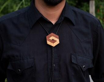 Hexagon Bolo Wood Veneer Op Art Geometric Inlay Marquetry Unisex Leather Western Lariat Necklace