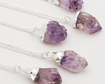 February Birthstone Raw Amethyst Necklace Silver Crystal Gemstone Point Necklace Rough Amethyst Crystal Pendant Boho Layering Necklace