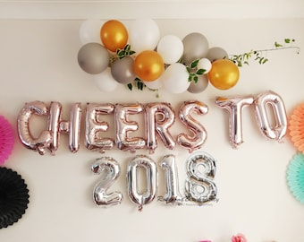 Cheers to 2018, New Year, Christmas, Rose Gold Balloons, Silver Numbers, Party Balloons, Garland, Rose Gold Balloon Letter, Prop, Tassel