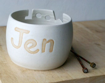 Choose your colour - A customised hand thrown pottery yarn bowl with your own message