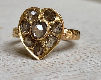 Antique Edwardian 18k gold and rose cut diamond heart ring, Statement Ring, Love Token, Jewelry, Jewellery, Anniversary Gift, Heirloom