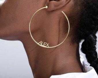 Personalized Name C Hoop Earrings in Gold / Rose Gold / Silver Custom Earring for Women Name Earrings Customized Earrings