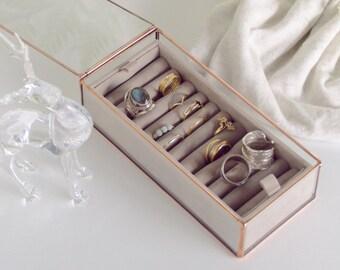 Jewelry glass box - Metal - Geometric - Copper - Ring box - Gift for her - Wedding gift - Grey Taupe - Coral - Mint - Valentin's Day