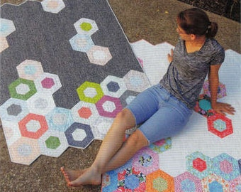 Hex Quilt, 1 Pattern, Science Fair, by Jaybird Quilts, Modern, Hexagons,  Hex-n-More Ruler Available on this Site, For Easy Cutting
