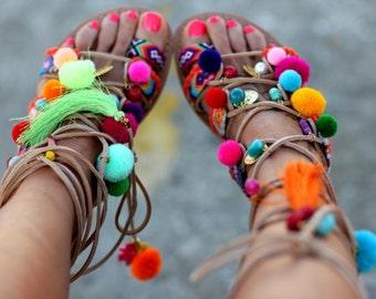 "Handmade to order decorated sandals ""Chili Mango"", Lace up Sandals, Leather Sandals, Boho Shoes, Pom pom Sandals, Gladiator Sandal"