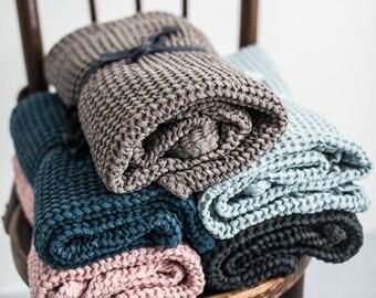 Large waffle taupe linen towel, Linen bath towel, Linen towels