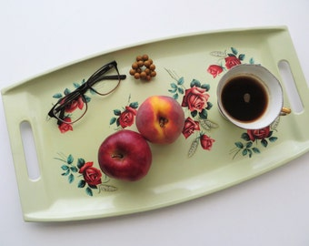 70s Floral Serving Tray Avocado Green with Red Roses Breakfast in Bed Food Tray KITSCH Made in Japan