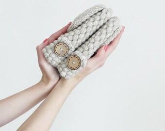 Convertible Wool Mittens For Women In Light Grey, Winter Accessories, Flip Top Fingerless Gloves, Arm Warmers