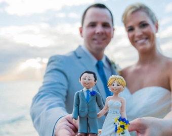 Personalised bride and groom beach wedding cake topper - Beach theme wedding cake topper