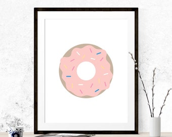 Pink Donut, Donut Print, Printable Art, Donut Art, Wall Print, Nursery Print, Kitchen Art, Kitchen Printable, Food Art, Bakery Decor, Pink