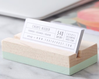 Wood Business Card Holder for Desk - Mint | Hand Painted | Horizontal or Vertical Business Card holder | Desk Accessory | Office Supplies