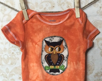 3 month Baby Girl Hand Dyed Halloween Appliqued bodysuit