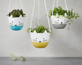 Hanging planter, Ceramic plant hanger, succulent pot, terrarium. Modern plant holder,kitty and cats lover planter, cat and muzzle graphics,