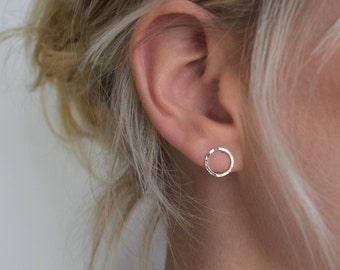 Circle Stud Earrings - Silver Hoop Earrings - Hammered Circle Stud Earrings - Small Stud Earrings - Dimple Silver Circle Earrings