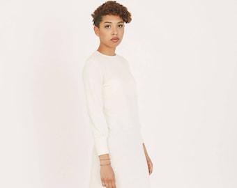 Ivory autumn dress - White organic cotton dress - Eco friendly casual dress - Long sleeve dress - Sweater dress