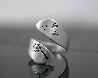 925 Echtsilber handgestempelter Pusteblumen Ring