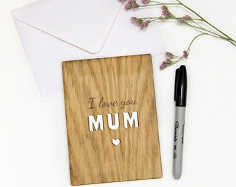 Wooden Card for Mum, I love you Mum, Gift for Mum, Mother's Day Gift, Mother Day Card