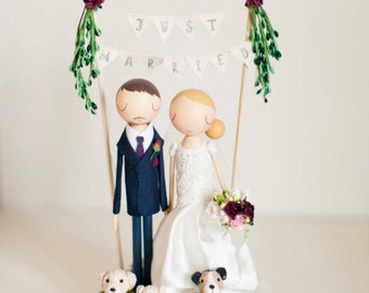 Rustic Wedding Cake Topper, Boho Cake Topper, Boho Wedding, Wooden Topper,Wooden Peg Doll,Wedding Gift,Personalized,Boho wedding cake topper
