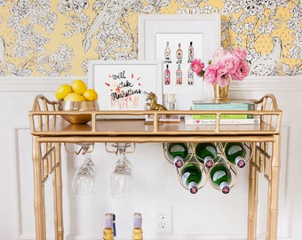 Bar Cart Art: Rosé All Day {Cute Wall Art, Home Decorating, Original Painting, Watercolor, Wall Decor, Interior Design, Decorating Ideas}