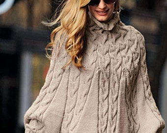 Hand-knitted cape/poncho with sleeves. Wolle/Alpaca. To order.