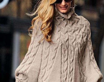 Hand knitted cape/ poncho with sleeves. Wool/Alpaca. Gift for you. On order.