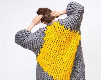 Chunky knit cardigan.  Big yarn sweater. Chunky knitting. Bulky wool knitwear. Giant knitting oversized cardigan. Her extreme knit coat.