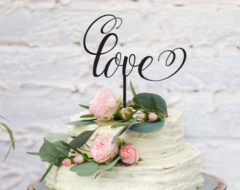 """The word Love - Wedding and Engagement Acrylic Cake Topper - Romantic """"Love"""" Engagement or Wedding Cake Decoration - Made IN Australia"""
