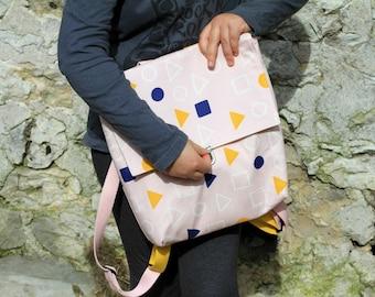 Pink canvas backpack for toddler girl, Geometric print school bag for kids, Modern backpack, Kids sports bag, Gift for little girl, Rucksack